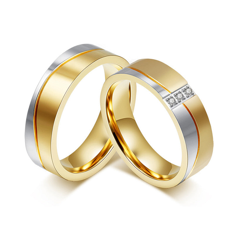 18K Gold Plated Titanium Steel Couple Ring - KD Connection Official Merchandise Store