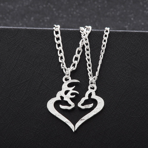 Couples Deer Pendant Necklace - Her Buck His Doe Split