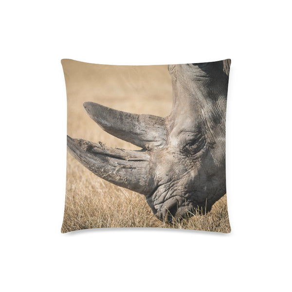 "Rhino Throw Pillow Cover 18""x18""(One Side)"