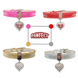 Bling Rhinestone Heart Charm Dog Collar for Dogs Cat Small Adjustable Pu Leather Pet Dog Puppy Cat Collar Necklace pet product