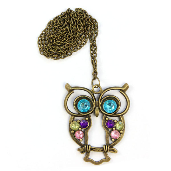 Crystal Blue Eyed Owl Long Chain Pendant