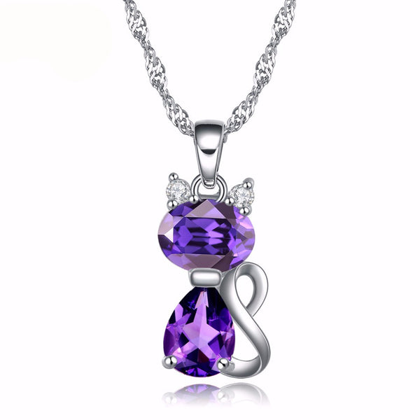 Cute Cat Pendant Necklace for Girls