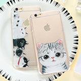 KISSCASE For iPhone 5 5s Case Soft TPU Cute Cat Pattern Phone Bag Case For iPhone 7 6 6s Plus Full Protector Cover For iPhone 6