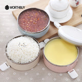 WORTHBUY Portable Stainless Steel Japanese Bento Box Gradient Color Thermal For Food With Containers Lunch Boxs For Kids Picnic
