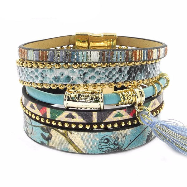 Blue flower Leather Snake skin Bracelet