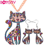 Bonsny Brand Acrylic Statement  Cat Necklace Earrings Jewelry Sets Choker Collar Fashion Jewelry 2016 News For Women Girl Gift