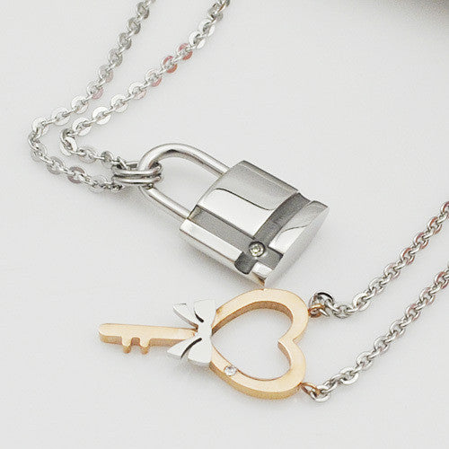 Heart Key and Lock Pendent Necklace for Couples - Sohaila's Boutique of Treasures