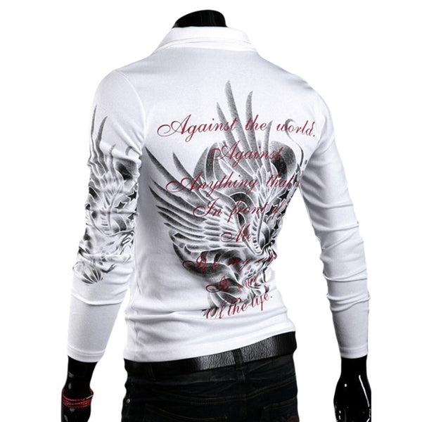 """Against the World"" Men's long Sleeve Slim Fit Shirt"