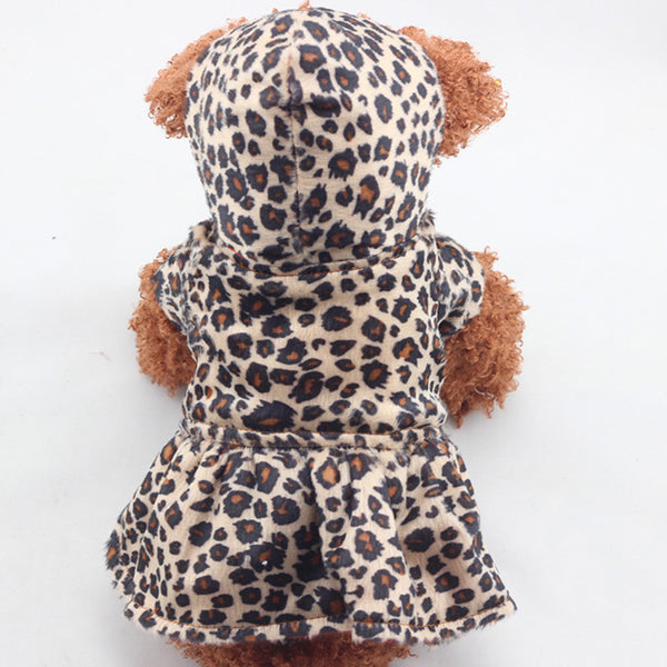 Reversible Hot Leopard Pet Dog Tutu Dress Coat with Hoodie - Sohaila's Boutique of Treasures