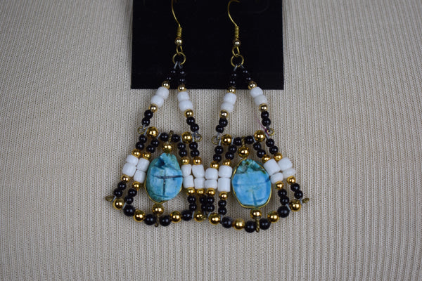 Scarab and beaded choker necklace with matching earrings - Sohaila's Boutique of Treasures