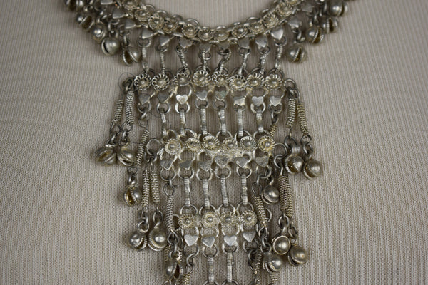 Silver bell Egyptian necklace