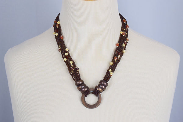 Brass and beaded necklace - Sohaila's Boutique of Treasures