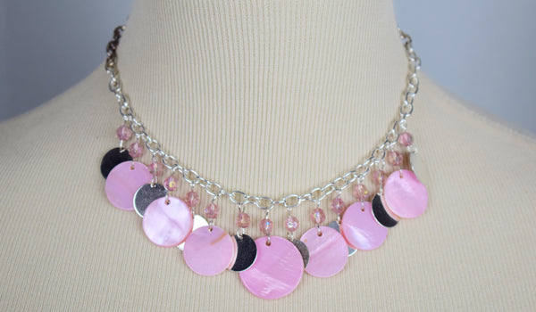 Pink shell necklace and earring set