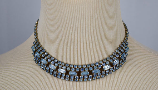 The classic blue antique rhinestone choker - Sohaila's Boutique of Treasures