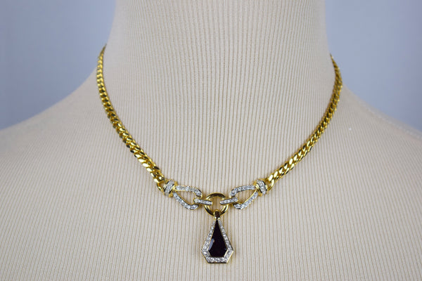 Black and crystal gold necklace and earring set - Sohaila's Boutique of Treasures
