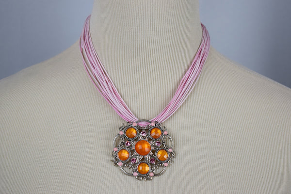 Pink and orange pendant necklace