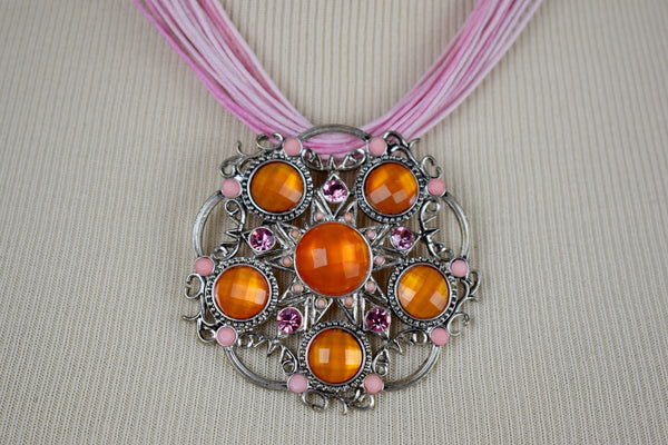 Pink and orange pendant necklace - Sohaila's Boutique of Treasures