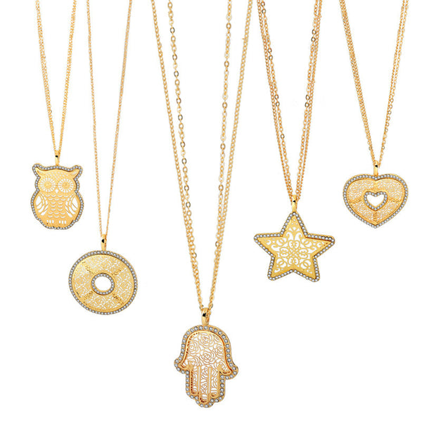 Long 18K Gold Crystal Necklaces - Sohaila's Boutique of Treasures