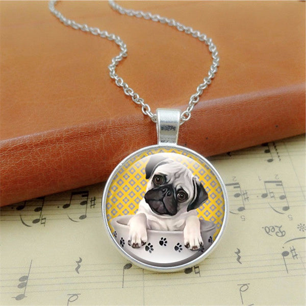 "Glass Pug Dog Pendant Necklace ""Pug in a Tea Cup"" - Sohaila's Boutique of Treasures"