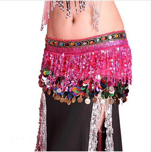 New Sequin Tassels Chiffon Belly Dance Hip Scarf with Gems and Coins