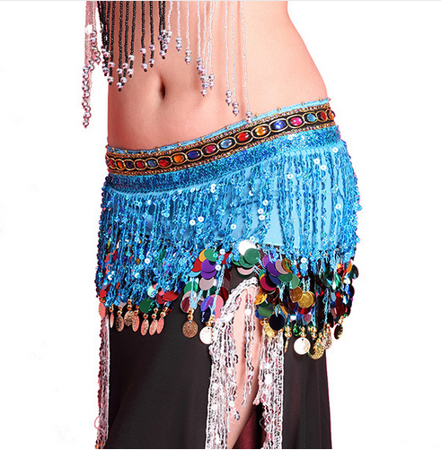 New Sequin Tassels Chiffon Belly Dance Hip Scarf with Gems and Coins - Sohaila's Boutique of Treasures