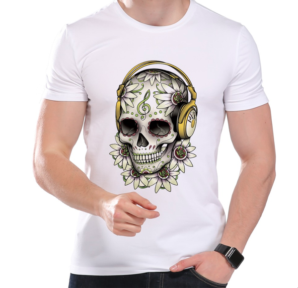 Men's Mexican Music Skull Flower T-Shirt