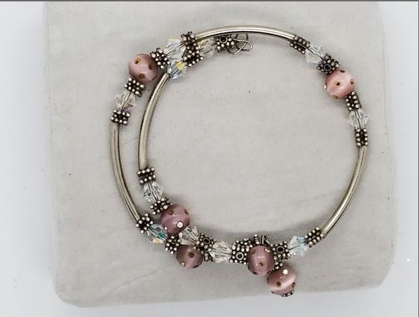 Lavender and pink silver wrap bracelet