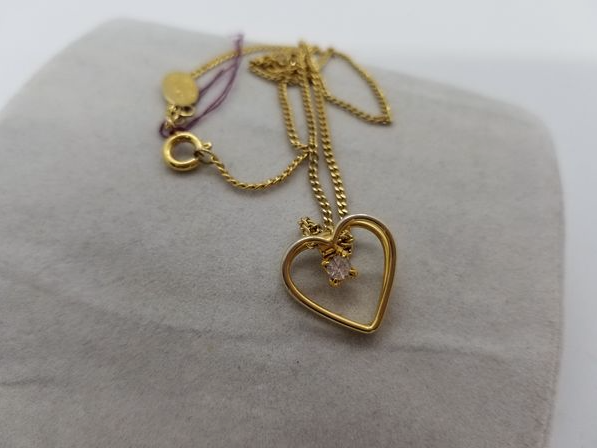 14k gold plated necklace with heart pendant