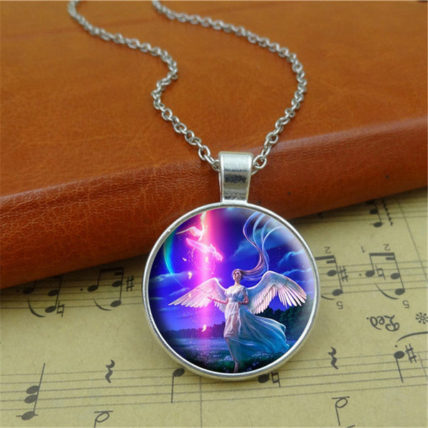 Angel Pendant Glass Necklace