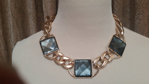 Fashion jewelry gold/onyx choker necklace - Sohaila's Boutique of Treasures