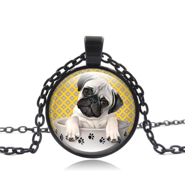 "Glass Pug Dog Pendant Necklace ""Pug in a Tea Cup"""