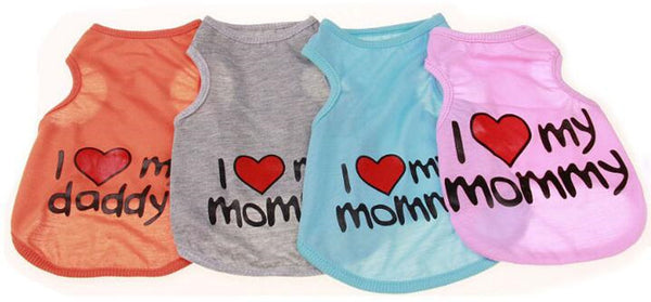 I Love My Mommy / Daddy pet t-shirt