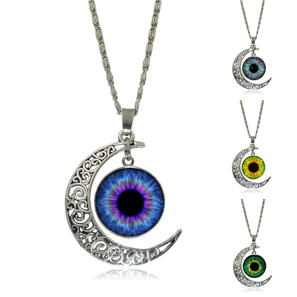 Silver Crescent Moon Evil Eye Glass Pendent Necklace