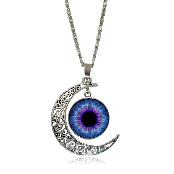 Silver Crescent Moon Evil Eye Glass Pendent Necklace - Sohaila's Boutique of Treasures