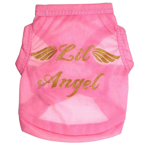 'Lil Angel' Wings Pink Vest dog shirt