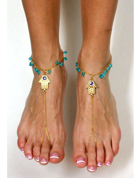 Lucky Hamsa Hand Of Fatima Anklet - Sohaila's Boutique of Treasures