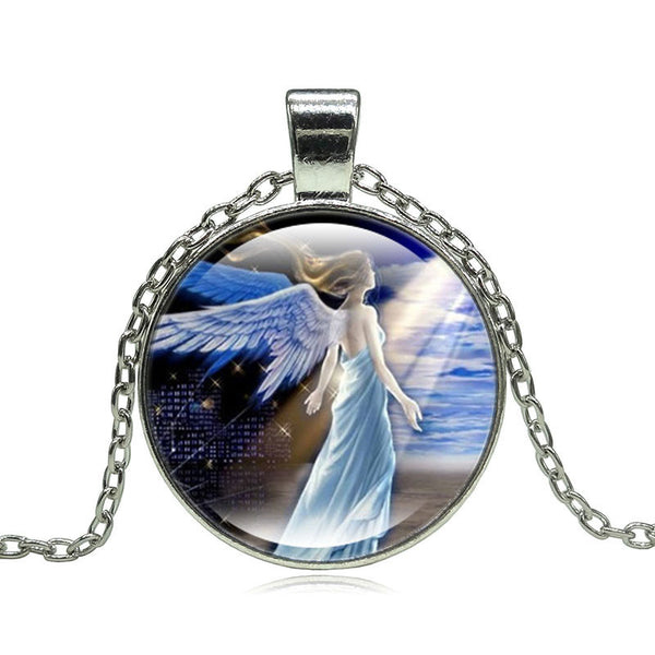 Angel Pendant Glass Necklace - Sohaila's Boutique of Treasures