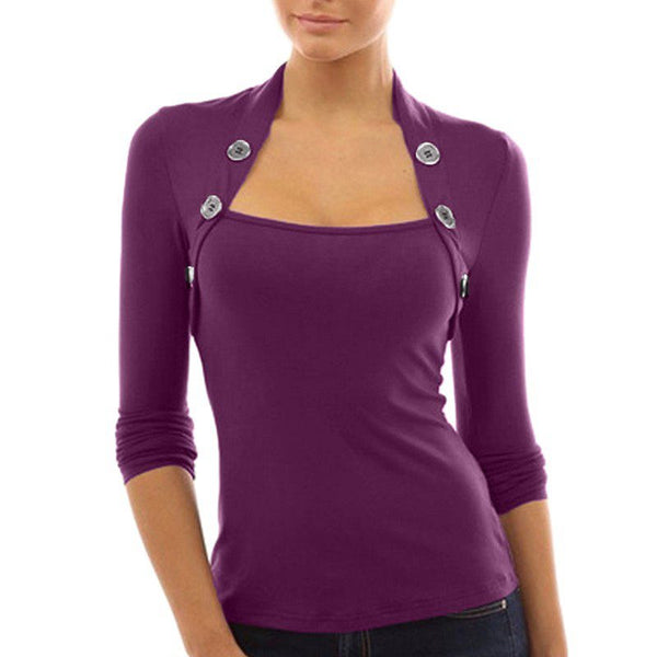 Long Sleeve Button Slim Top