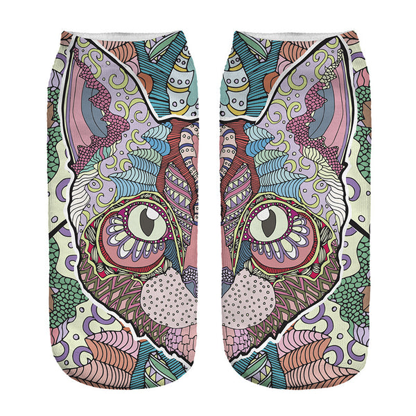 Colorful Cat novelty ankle socks - Sohaila's Boutique of Treasures