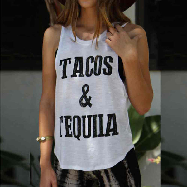 'Tacos and Tequila' tank T-Shirt