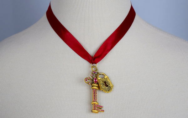 Red ribbon gold key and lock pendent choker - Sohaila's Boutique of Treasures