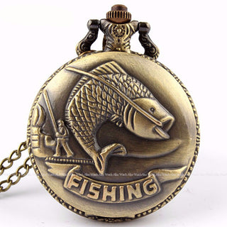 Fishing Angling Antique Quartz Pocket Watches Mens - Discount Storehouse