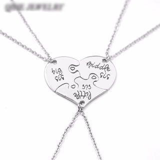 3 Sister Necklace 3 Piece Heart  Big Sis Middle Sis Little Sis - Discount Storehouse
