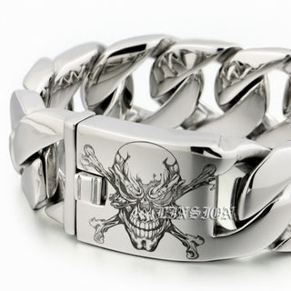 Heavy  Stainless Steel Pirate Skull Bracelet - Discount Storehouse
