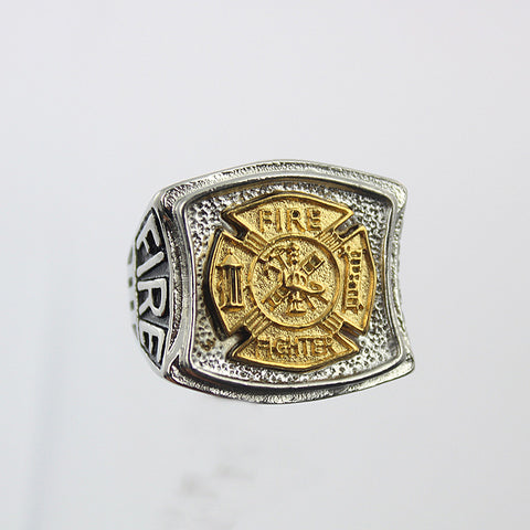 Stainless steel gold plating firefighter ring - Discount Storehouse
