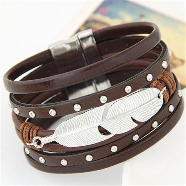 Metal Silver Plated Feather Bracelet - Discount Storehouse