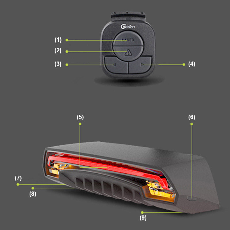 Laser Bicycle Rear Light  Tail