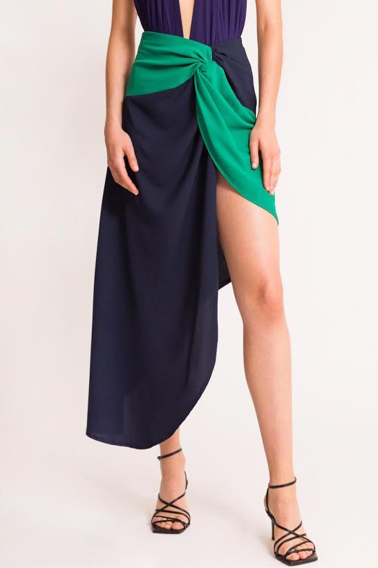 Grace Knot Skirt Navy Blue
