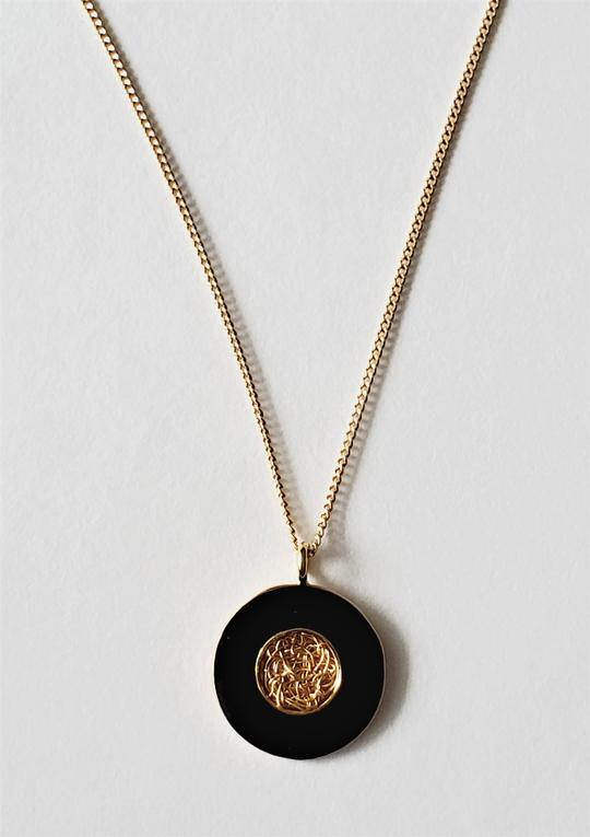 Black moon pendant chain