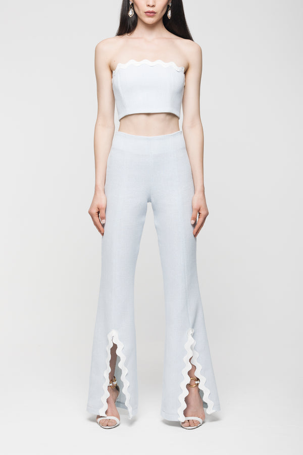 LIGHT BLUE PANTS WITH FRONT SLIT